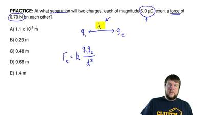 At what separation will two charges, each of magnitude 6.0 μC, exert a force o...