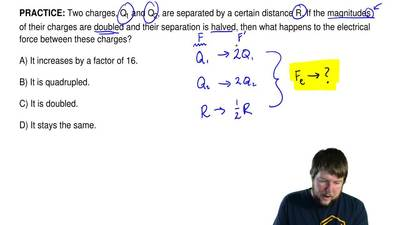 Two charges, Q1 and Q2, are separated by a certain distance R. If the magnitud...