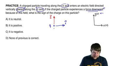 A charged particle traveling along the +x axis enters an electric field direct...