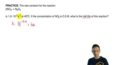 The rate constant for the reaction  2NO2 → N2O4  is 1.2• 10-2 s-1 at 45oC. If ...
