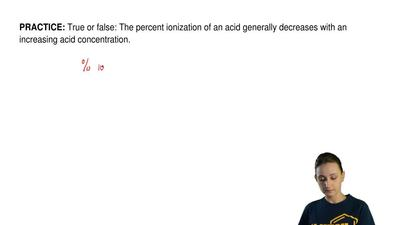 True or false: The percent ionization of an acid generally decreases with an i...