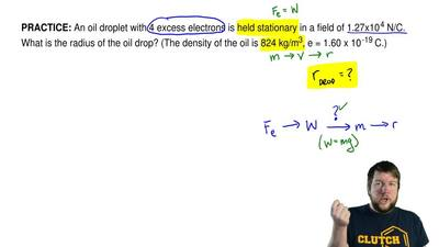 An oil droplet with 4 excess electrons is held stationary in a field of 1.27x1...