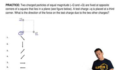 Two charged particles of equal magnitude (−Q and +Q) are fixed at opposite cor...