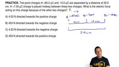 Two point charges of +60.0 μC and -12.0 μC are separated by a distance of 20.0...