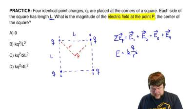 Four identical point charges, q, are placed at the corners of a square. Each s...