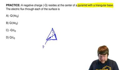 A negative charge (-Q) resides at the center of a pyramid with a triangular ba...