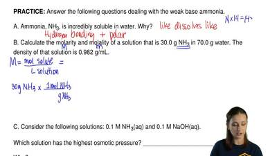 Answer the following questions dealing with the weak base ammonia.   A. Ammoni...