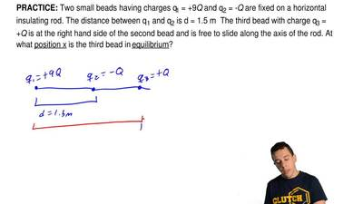 Two small beads having charges q1 = +9Q and q2 = -Q are fixed on a horizontal ...