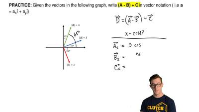 Given the vectors in the following graph, write  (A - B) + C in vector notatio...
