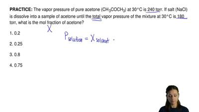 The vapor pressure of pure acetone (CH3COCH3) at 30°C is 240 torr. If salt (N...