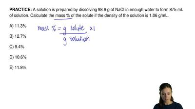 A solution is prepared by dissolving 98.6 g of NaCl in enough water to form 87...
