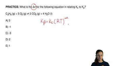 What is the Δn for the following equation in relating K c to Kp?  C3H8 (g) + 5...