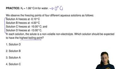 Kf = 1.86°C/m for water.  We observe the freezing points of four different aqu...