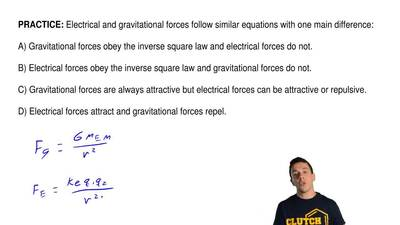 Electrical and gravitational forces follow similar equations with one main dif...