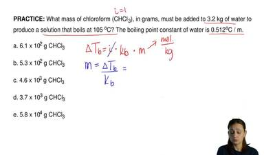 What mass of chloroform (CHCl3), in grams, must be added to 3.2 kg of water t...