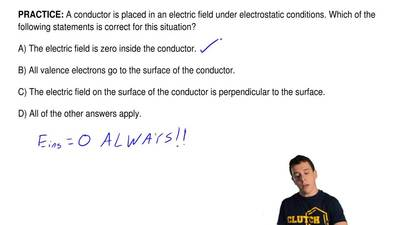 A conductor is placed in an electric field under electrostatic conditions. Whi...