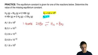 The equilibrium constant is given for one of the reactions below. Determine th...