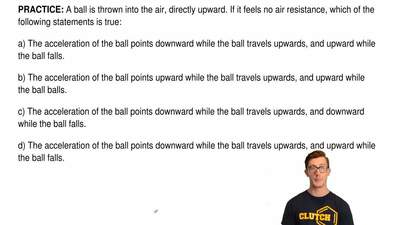 A ball is thrown into the air, directly upward. If it feels no air resistance,...