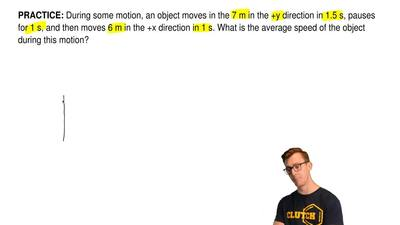 During some motion, an object moves in the 7 m in the +y direction in 1.5 s, p...