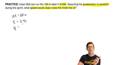 Usain Bolt can run the 100 m dash in 9.58s. Assuming his acceleration is const...