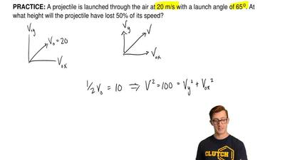 A projectile is launched through the air at 20 m/s with a launch angle of 65 o...