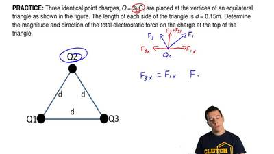 Three identical point charges, Q = 3μC, are placed at the vertices of an equil...