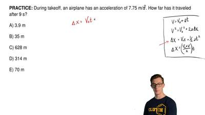 During takeoff, an airplane has an acceleration of 7.75 m/s2. How far has it t...