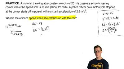 A motorist traveling at a constant velocity of 20 m/s passes a school-crossing...