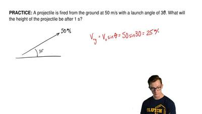 A projectile is fired from the ground at 50 m/s with a launch angle of 30o. Wh...