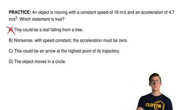An object is moving with a constant speed of 18 m/s and an acceleration of 4.7...