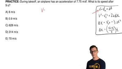 During takeoff, an airplane has an acceleration of 7.75 m/s2. What is its spee...