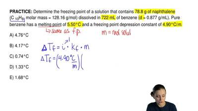 Determine the freezing point of a solution that contains 78.8 g of naphthalene...