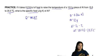 If it takes 0.216 kJ of heat to raise the temperature of a 12.0 g piece of Al...