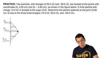 Two particles, with charges of 20.0 nC and –20.0 nC, are located at the points...