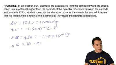 In an electron gun, electrons are accelerated from the cathode toward the anod...