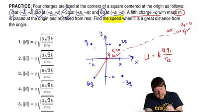 Four charges are fixed at the corners of a square centered at the origin as fo...