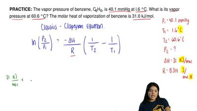 The vapor pressure of benzene, C6H6, is 40.1 mmHg at 1.6 °C. What is its vapor...