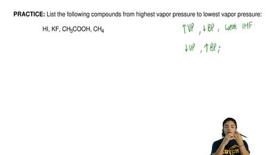 List the following compounds from highest vapor pressure to lowest vapor press...