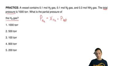 A vessel contains 0.1 mol H2 gas, 0.1 mol N2 gas, and 0.3 mol NH3 gas. The tot...