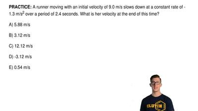 A runner moving with an initial velocity of 9.0 m/s slows down at a constant r...