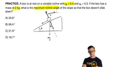 A box is at rest on a variable incline with μs = 0.4 and μk = 0.3. If the box ...