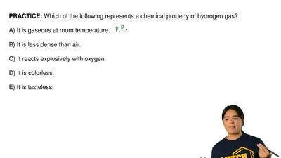 Which of the following represents a chemical property of hydrogen gas?  A) It ...