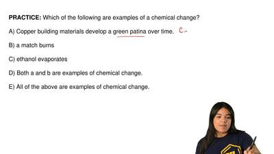 Which of the following are examples of a chemical change?  A) Copper building ...
