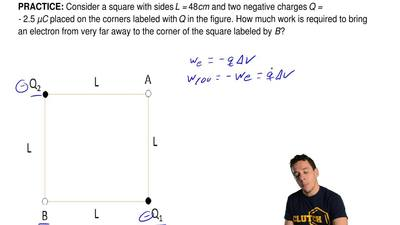 Consider a square with sides L = 48cm and two negative charges Q = - 2.5 μC pl...