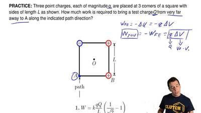 Three point charges, each of magnitude q, are placed at 3 corners of a square ...