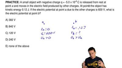 A small object with negative charge q = -5.0 x 10 -4 C is released from rest a...