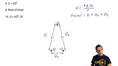 A system of charges are shown in the figure. What is the electric potential en...
