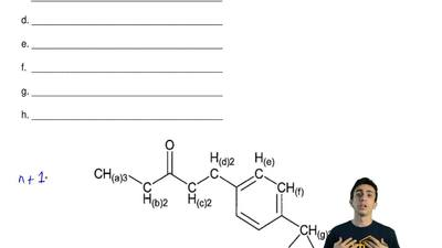 What is the splitting of each of the protons on the following molecule?  a. __...