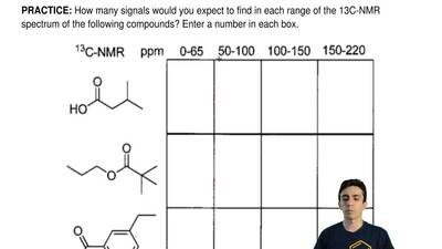 How many signals would you expect to find in each range of the 13C-NMR spectru...