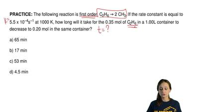 The following reaction is first order, C2H6 → 2 CH3. If the rate constant is e...